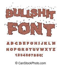 Bullshit font. Alphabet of poop with flies. Shit alphabet...