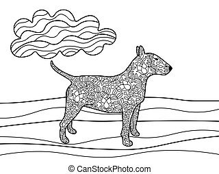 Bullterrier dog coloring book for adults vector