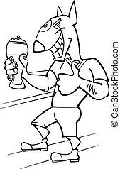 bullterrier man with glass of beer cartoon illustration