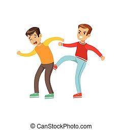 bully, ポジション, 男の子, 袖, 上, 2, 長い間, 戦い, ける, 戦い, もう1(つ・人), 台じり...