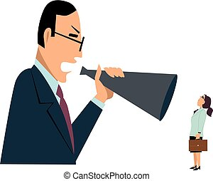 Bully boss and female subordinate - Male manager yelling at...