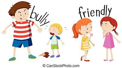 Bully boy and friendly girl illustration