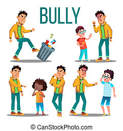 Bully Child . Angry Bully Kid. Teenager Victim. Sad Boy, Girl Child. Illustration