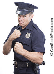 Bully cop on white background