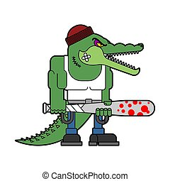 Bully crocodile. Hooligan alligator. hoodlum croc. Vector ...