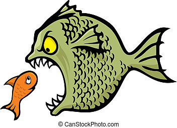 Angry fish bullying a little one cartoon illustration
