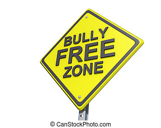 Bully Free Zone Yield Sign White Background