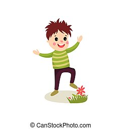 Bully kid playing on green lawn and treading flowers, cartoon character of naughty boy