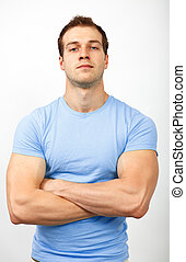 Bully or arrogance concept - muscular guy looking tough -...