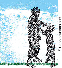 bully pushes around a smaller kid. Vector illustration