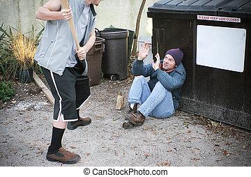 Bully Threatens Homeless Man
