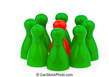 bullying as a team. outsider - red and green pawns....