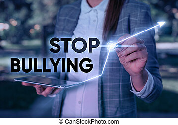 bullying., baston, agressif, business, arrêt, texte, concept...