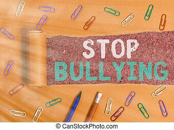 bullying., baston, behavior., concept, mot, arrêt, business...