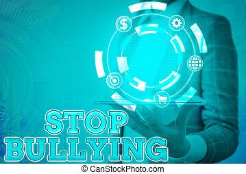 bullying., baston, conceptuel, behavior., signe, arrêt, ...