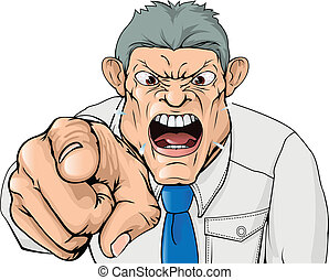 Bullying boss shouting and pointing - Illustration of a ...