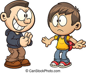 Bullying - Cartoon kid getting bullied. Vector clip art...