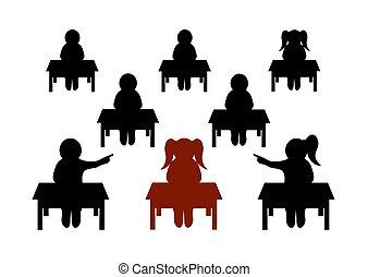 bullying, compagno di scuola, vettore, school., illustrazione