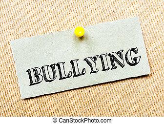bullying, concept, gerecyclde, beeld, kurk, aantekening, message., papier, board., gespeld