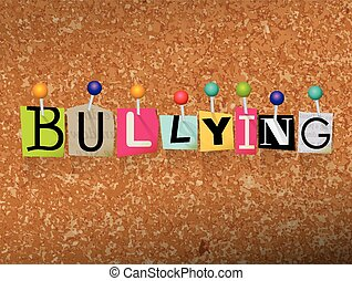 Bullying Concept Pinned Letters Illustration
