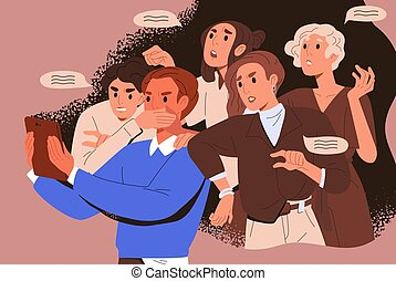 Bullying crowd of people who meddle, disturb and give unasked, unbidden advice. Woman shoves man with tablet. Concept of public meddlesome comment in media networks. Flat vector cartoon illustration.