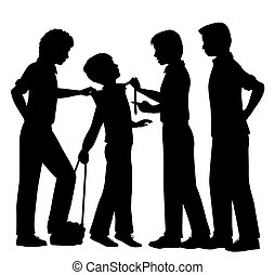 Bullying - Editable vector silhouettes of older boys...