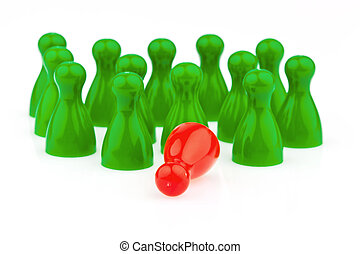 bullying in the team. outsider - red and green pawns....