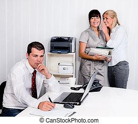 bullying, ind, den, arbejdspladsen, kontor