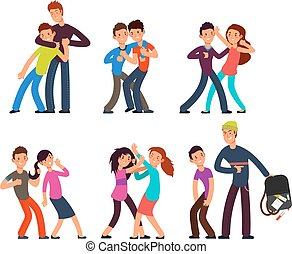 Bullying kids. Stop school bully. Aggressive and sad children. Cartoon fighting teenagers vector characters set