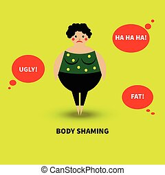 Bullying overweight women. Negative comments. Vector...