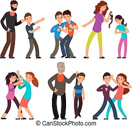 Bullying people. Students, kids fighting with angry parents and each other. Vector characters set