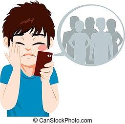 bullying, ragazzo, cyber