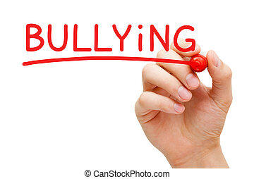 Bullying Red Marker - Hand writing Bullying with red marker...