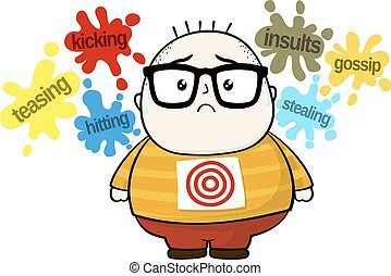 bullying target - stressed little fat boy target for bullies...
