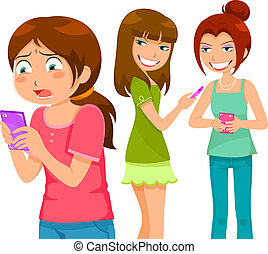 bullying through cell phone - girl being bullying by her ...