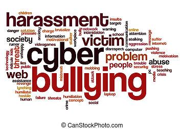 bullying, woord, cyber, wolk