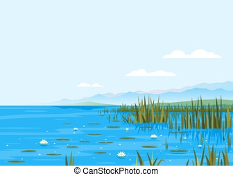 Bulrush Plants with Water Lily Landscape