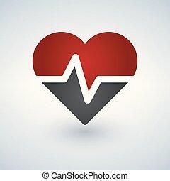 bulta, hjärta, kardiogram, pulsera, logo, ikon, vektor