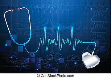 bulta, hjärta, stethescope, visande