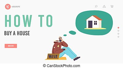 Bum Dream of House Landing Page Template. Poor Man in Tatters Imagine House and Dreaming of Own Place for Living