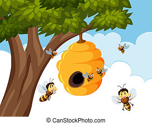 Bumble bees around beehive illustration