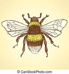 bumble, bosquejo, abeja, estilo, vendimia