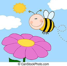 bumble, encima, vuelo, flor, abeja