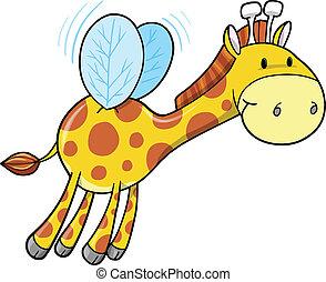 bumble, girafe, vecteur, art, abeille
