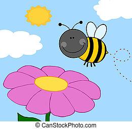 bumble, hen, bi, blomst, flyve
