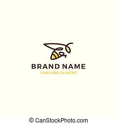 bumble, illustration, bi, honning, vektor, nældefeber, skabelon, logo