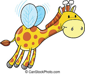bumble, jirafa, vector, arte, abeja