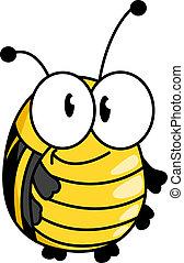 bumble, peu, graisse, abeille, sourire heureux
