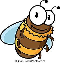 bumble, vuelo, caricatura, abeja miel, o, feliz