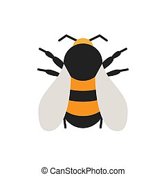 Bumblebee bee insect single flat color vector icon